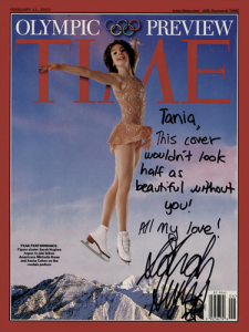 Sarah Hughes wearing a Tania Bass dress, Time Magazine 2002